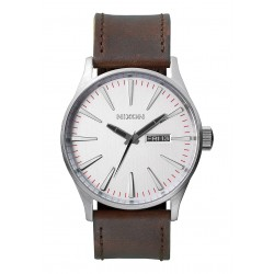 Nixon Sentry Leather Silver / Brown A1051113