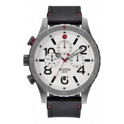 Nixon 48-20 Chrono Leather Gunmetal / White A363486