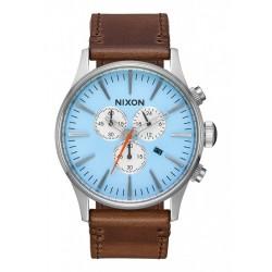 Nixon Sentry Chrono Leather Sky Blue / Taupe A4052547