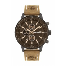 Timberland Woodworth 44mm black chrono tan leather 15952JYU-02