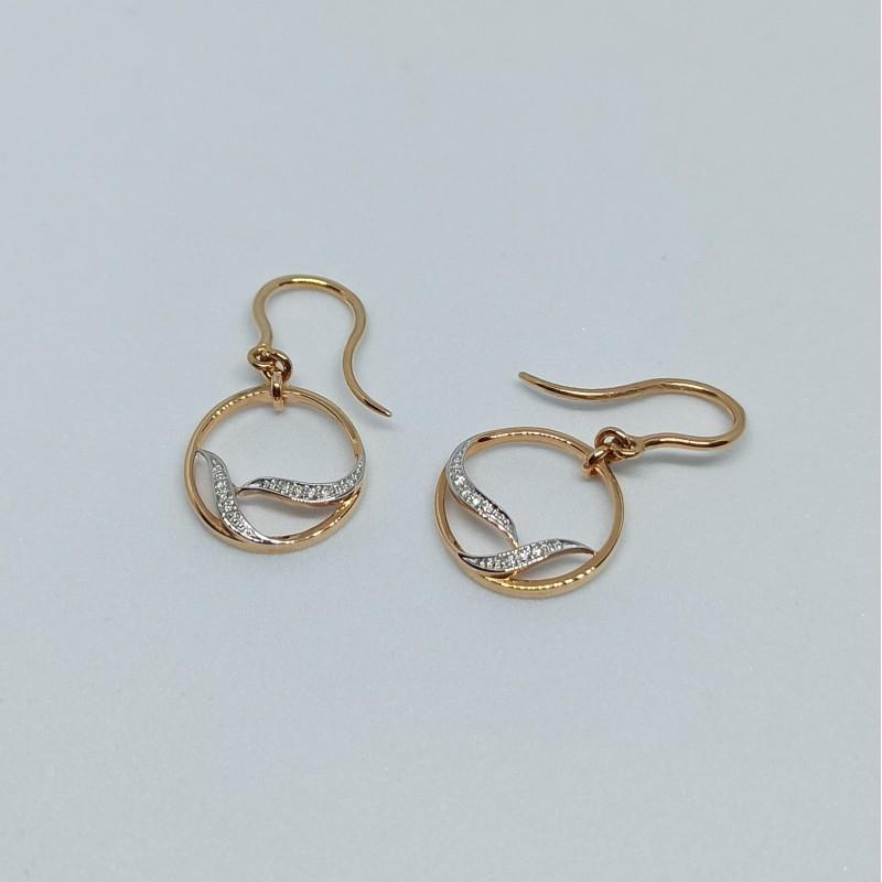 Pendientes oro blanco, oro rosa y diamantes 42524P B05