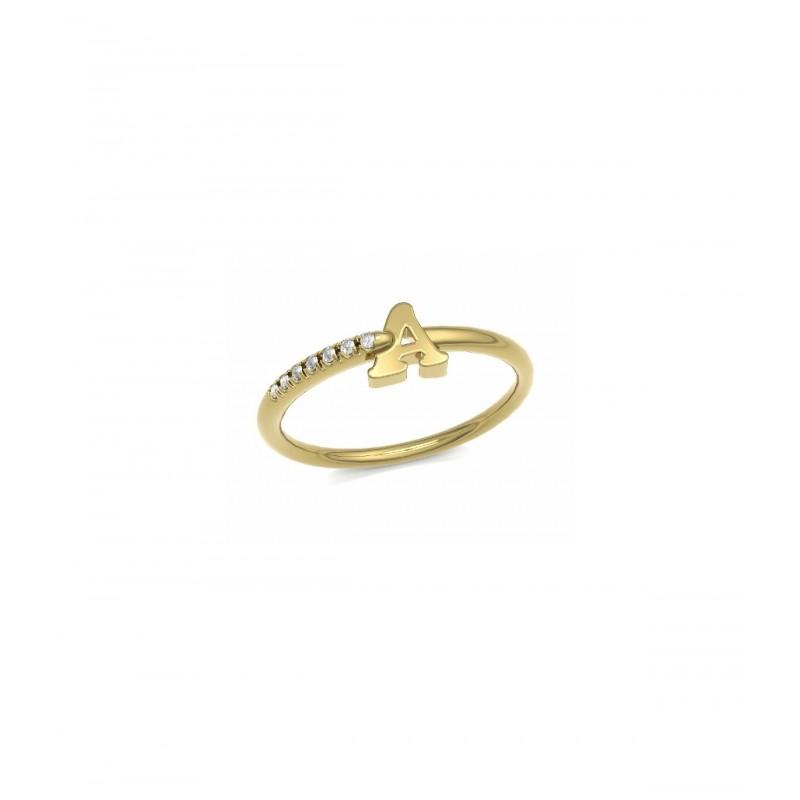 Anillo inicial oro amarillo y Diamantes 10595 OAB