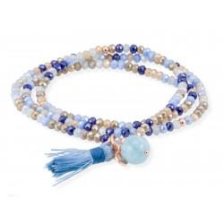 Pulsera ZEN Azul en plata rosa 90572UA